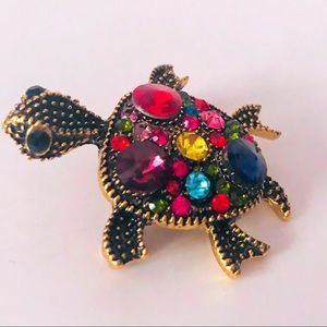 NEW! COLORFUL CRYSTAL TURTLE BROOCH IN BRONZE